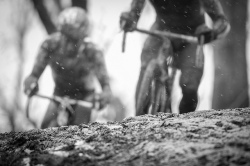 Black and white cyclocross photo